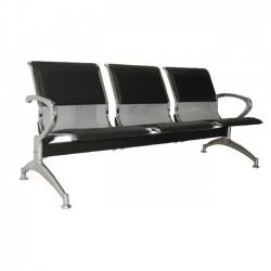 Κάθισμα υποδοχής 3 θέσεων μαύρο pvc σκελετός χρώμιο c10013
