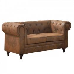 Καναπές 2 θέσεων ύφασμα καφέ camel c11231