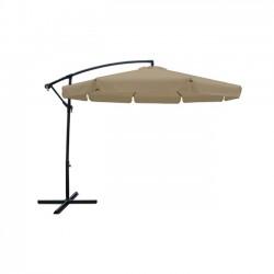 Ομπρέλα κρεμαστή αλουμινίου φ300cm ανθρακί ύφασμα μπεζ με μεταλλική βάση c11319