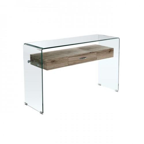 Κονσόλα γυάλινη με ξύλινο ράφι c13101
