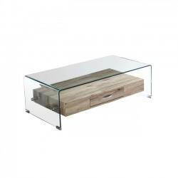 Τραπέζι γυάλινο με ξύλινο ράφι c13102