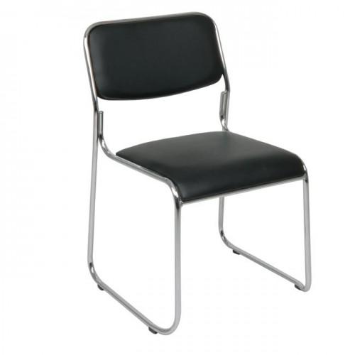 Καρέκλα γραφείου επισκέπτη χρωμίου με soft δερματίνη μαύρη c19689