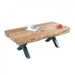 Τραπέζι σαλονιού μεταλλικό μαύρο με ξύλο φυσικό ακακία c20153