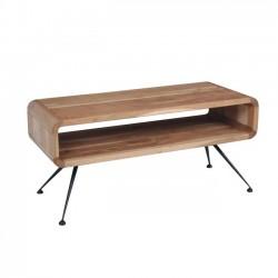 Τραπέζι σαλονιού μεταλλικό μαύρο με ξύλο φυσικό ακακία c20158