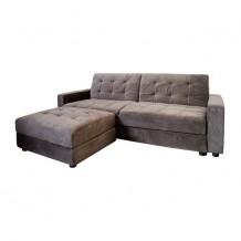 Καναπές κρεβάτι με σκαμπώ ύφασμα γκρι καφέ c9451