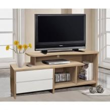 Έπιπλο τηλεόρασης με 2 συρτάρια σε χρώμα sonama και λευκό c11892