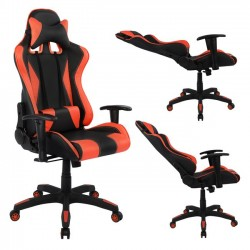 Πολυθρόνα Gaming με ανάκλιση 180 μοιρών μαύρο κόκκινο c14491