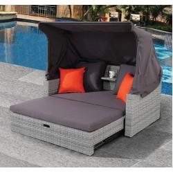 Καναπές ξαπλώστρα 2 θέσεων αλουμινίου wicker grey με ύφασμα γκρι ag109a