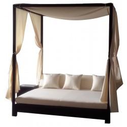 Καναπές ξαπλώστρα αλουμινίου wicker brown με ύφασμα μπεζ ag110a