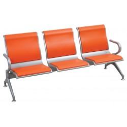 Κάθισμα αναμονής 3 θέσεων μεταλλικό πορτοκαλί ag261a