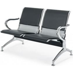 Κάθισμα αναμονής 2 θέσεων χρωμίου με pvc μαύρο ag261c