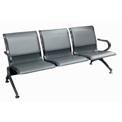 Κάθισμα αναμονής 3 θέσεων χρωμίου με pvc μαύρο ag261d