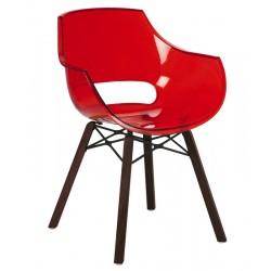 Πολυθρόνα πολυκαρβονική διάφανη κόκκινη με ξύλο και μέταλλο 1e186ag17