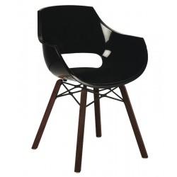 Πολυθρόνα πολυκαρβονική glossy μαύρη με ξύλο και μέταλλο 1k186ag17
