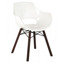 Πολυθρόνα πολυκαρβονική glossy λευκή με ξύλο και μέταλλο 1l186ag17