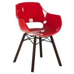 Πολυθρόνα πολυκαρβονική glossy κόκκινη με ξύλο και μέταλλο 1m186ag17