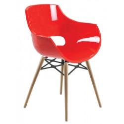 Πολυθρόνα πολυκαρβονική glossy κόκκινη με ξύλο και μέταλλο 2a186ag17