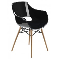 Πολυθρόνα πολυκαρβονική glossy μαύρη με ξύλο και μέταλλο 2c186ag17