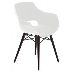 Πολυθρόνα πολυκαρβονική glossy λευκή με ξύλο και μέταλλο 2d186ag17