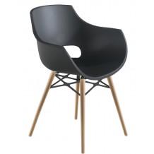 Πολυθρόνα πολυκαρβονική ματ ανθρακί με ξύλο και μέταλλο 2h186ag17