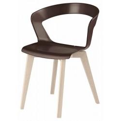 Πολυθρόνα πολυπροπυλενίου καφέ με πόδια ξύλινα οξυά a210ag17