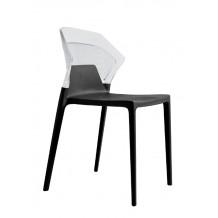 Καρέκλα αλουμινίου πολυπροπυλενίου με σκελετό μαύρο και πλάτη διάφανη 6f188ag17