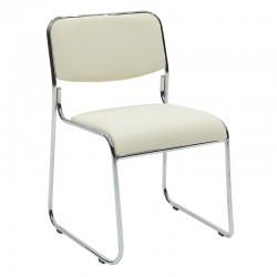 Καρέκλα επισκέπτη με pvc χρώμα εκρού c18568