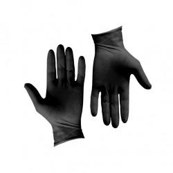 Σετ 100τεμ γάντια λάτεξ μεγάλης αντοχής χωρίς πούδρα μαύρα MEDIUM c203995