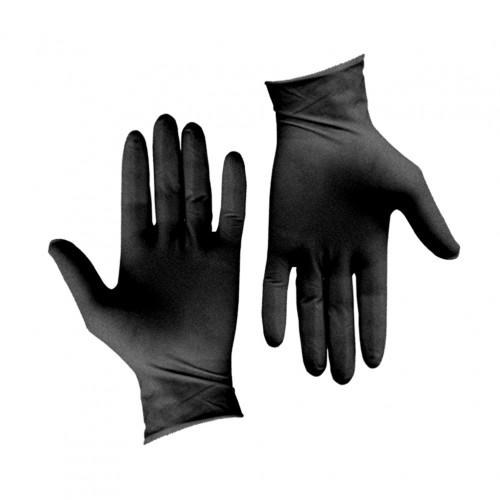 Σετ 100τεμ γάντια λάτεξ μεγάλης αντοχής χωρίς πούδρα μαύρα LARGE c203996