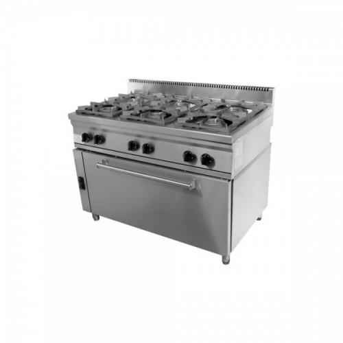 Κουζίνα αερίου με 6 εστίες και μεγάλο φούρνο