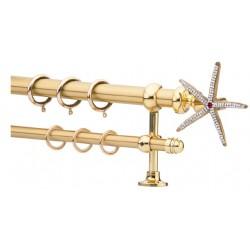 Κουρτινόξυλο 2.20-3.20m διπλό χρυσό με strass c21700