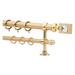 Κουρτινόξυλο 2.20-3.20m διπλό χρυσό με swarovski c21754