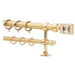 Κουρτινόξυλο 2.20-3.20m διπλό χρυσό με swarovski c21784