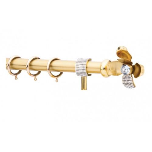 Κουρτινόξυλο 0.80-1.40m μονό χρυσό με strass c21815
