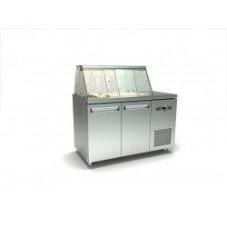 Inox διπλό ψυγείο πάγκος σαλατών με δυο σειρές λεκανάκια gn id