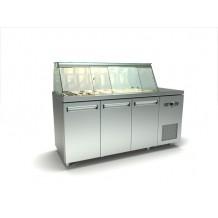 Inox τριπλό ψυγείο πάγκος σαλατών με δυο σειρές λεκανάκια gn id