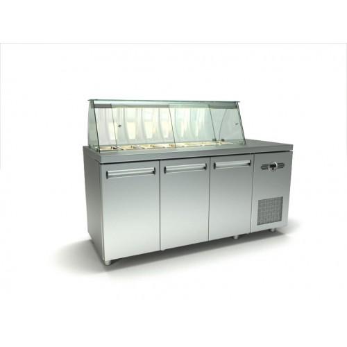 Inox τριπλό ψυγείο πάγκος σαλατών με μια σειρά λεκανάκια gn id