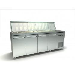 Inox 4 πορτό ψυγείο πάγκος σαλατών με μια σειρά λεκανάκια gn id