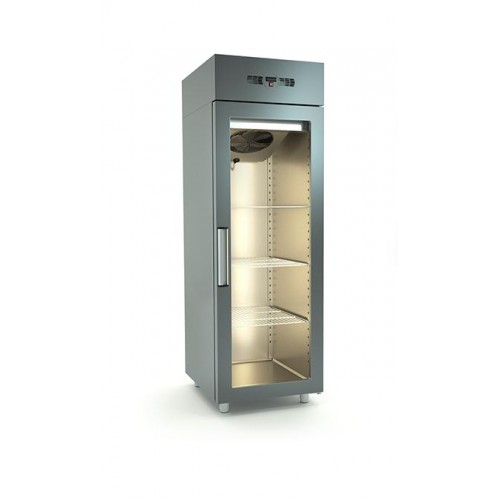 Inox μονό ψυγείο συντήρησης με γυάλινη πόρτα id