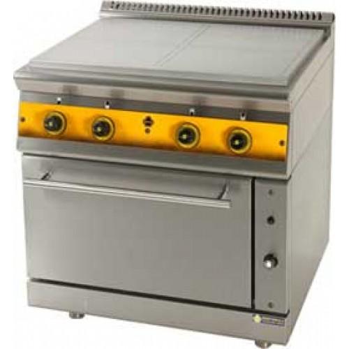 Ηλεκτρική κουζίνα 4 εστιών με ενιαία πλάκα και φούρνο