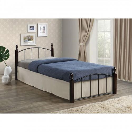 ARAGON Κρεβάτι για στρώμα 120x200cm Μεταλ Μαύρο Ξύλο Καρυδί c301490