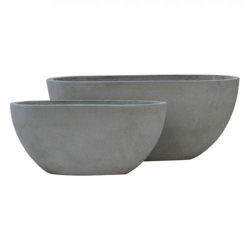 FLOWER POT 4 Set 2 τεμαχίων Cement Grey c347181