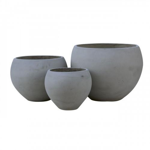 FLOWER POT 5 Set 3 τεμαχίων Cement Grey c347182