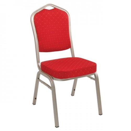 Καρέκλα μεταλλική light gold με ύφασμα κόκκινο c34964