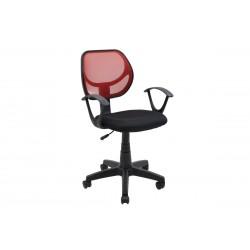 Πολυθρόνα γραφείου εργασίας Sara ύφασμα mesh χρώμα μαύρο κόκκινο c35080