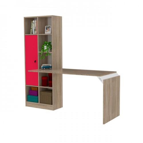 Γραφείο με βιβλιοθήκη χρώμα sonama - ροζ c35165