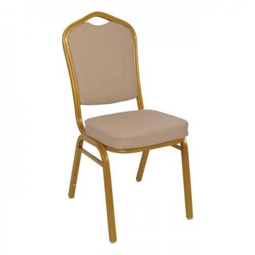 Καρέκλα μεταλλική gold με pu cappuccino c36140
