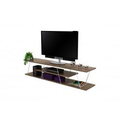 Έπιπλο tv Tars χρώμα καρυδί με λεπτομέρειες χρωμίου c36323