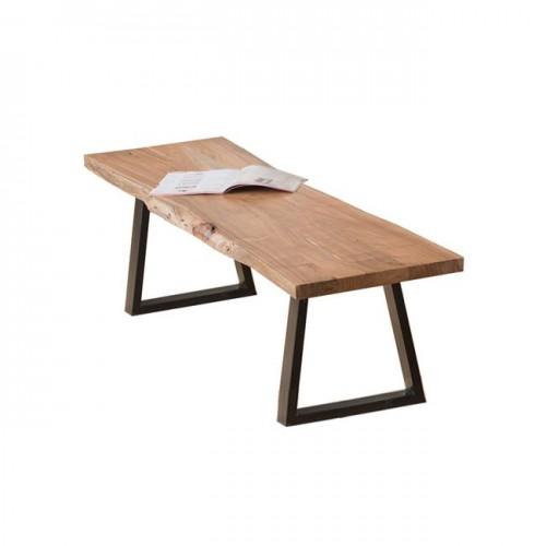 Παγκάκι slim μεταλλικό μαύρο και ξύλο ακακία φυσικό c36979