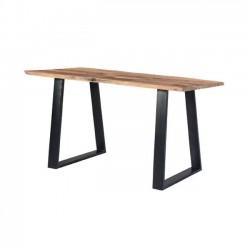 Τραπέζι slim μεταλλικό μαύρο με ξύλο ακακία φυσικό c36988
